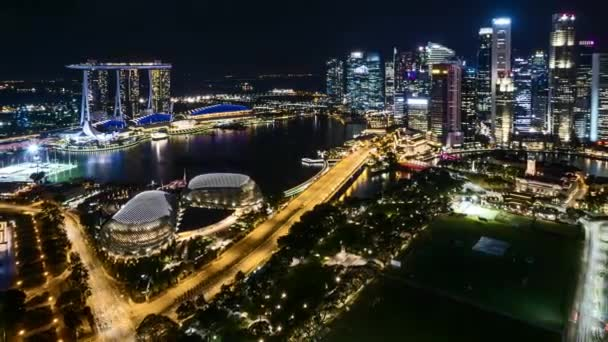 4k UHD time lapse of night scene at Marina Bay Singapore. Zoom out