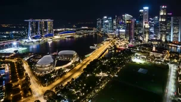 4k UHD time lapse of night scene at Marina Bay Singapore. Tilt up
