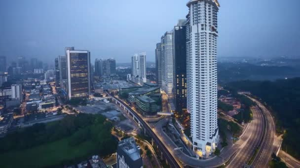 Sunrise at Kuala Lumpur city skyline. Zoom out
