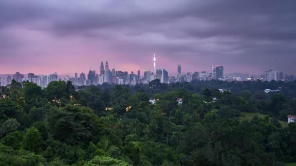 Sunrise at Kuala Lumpur city skyline. 4k UHD time lapse.