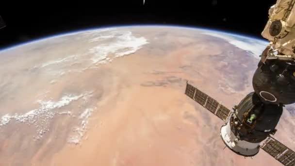 Rotierende Erde wie von der internationalen Raumstation, Time Lapse 4 k gesehen. Bilder mit freundlicher Genehmigung von Nasa Johnson Space Center. Verkleinern Sie die Ansicht