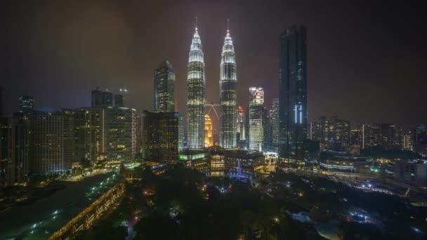 4k time lapse of sunset scene at Kuala Lumpur city skyline.