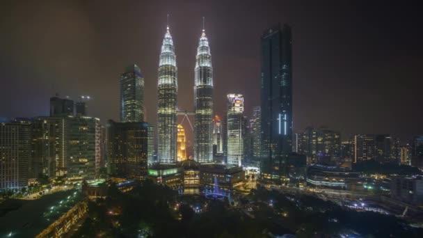 4k time lapse of sunset scene at Kuala Lumpur city skyline. Pan left