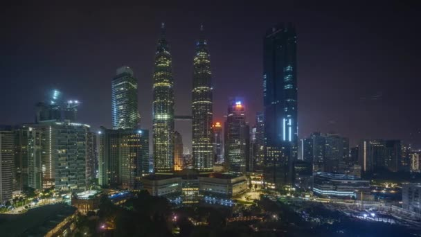 4k time lapse of sunrise scene at Kuala Lumpur city skyline. Pan left