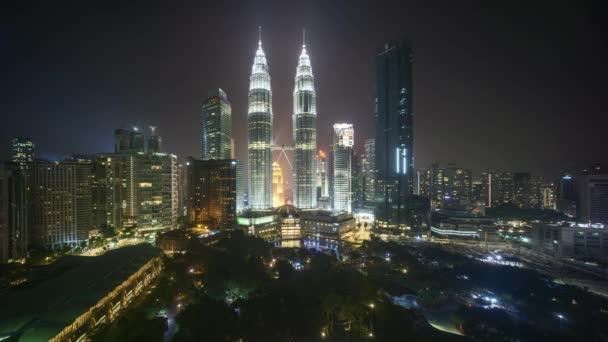 4k time lapse of night scene at Kuala Lumpur city skyline.