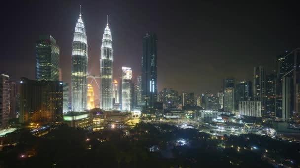 4k time lapse of night scene at Kuala Lumpur city skyline. Zoom in