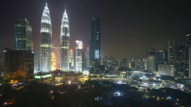 4k time lapse of night scene at Kuala Lumpur city skyline. Zoom out