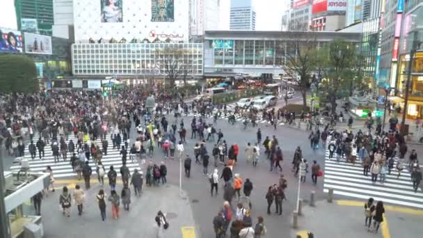 Shibuya, Tokyo, Japan - April 2, 2017: B-roll cinematic establishing footage of Shibuya Crossing, one of the busiest road intersection in the world (scramble crosswalk).