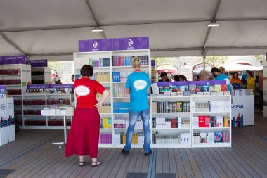 Moscow, Russia, 05 June 2019: Open Book Fair on the Red Square in Moscow - big festival of books