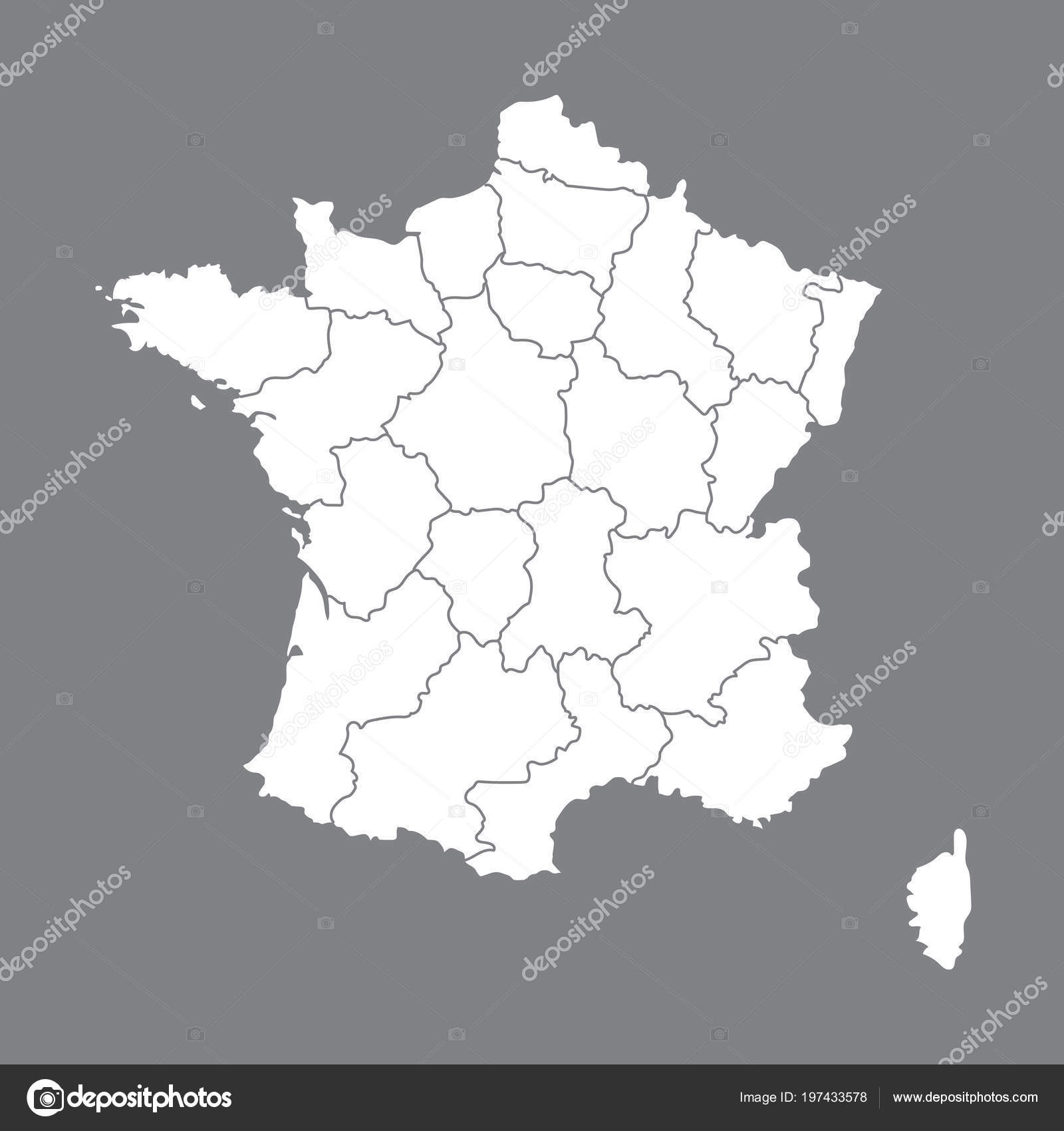 Map Of France With Regions.Blank Map France High Quality Map France Borders Regions Stock