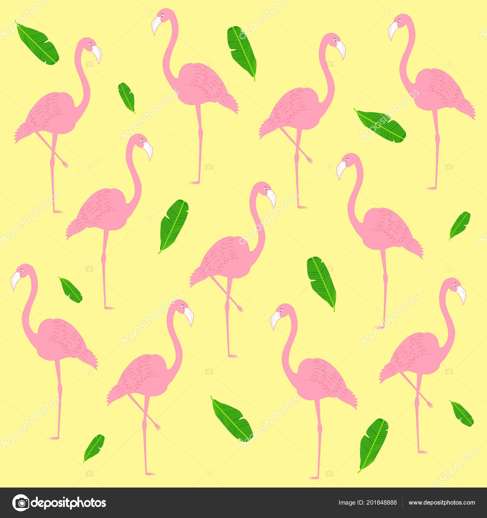 Vector Pattern Pink Flamingo Tropical Leaves Yellow Background