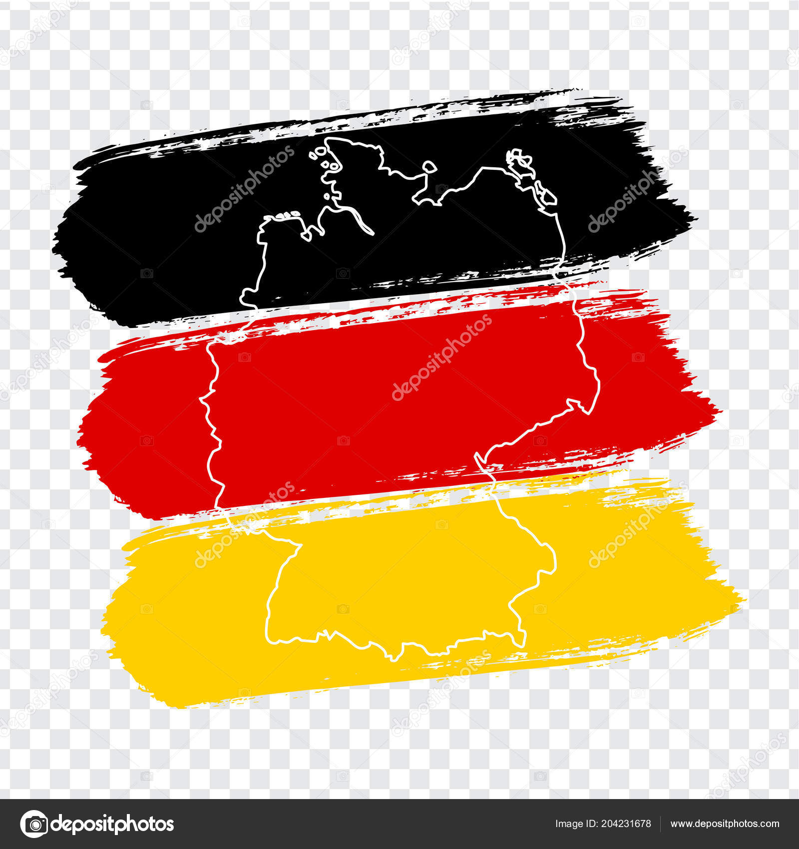 Flag Germany Brush Strokes Blank Map Germany High Quality Map