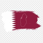 Photo Flag of Qatar from brush strokes and Blank map Qatar. High quality map of Qatar on transparent background. Stock vector. Vector illustration EPS10.