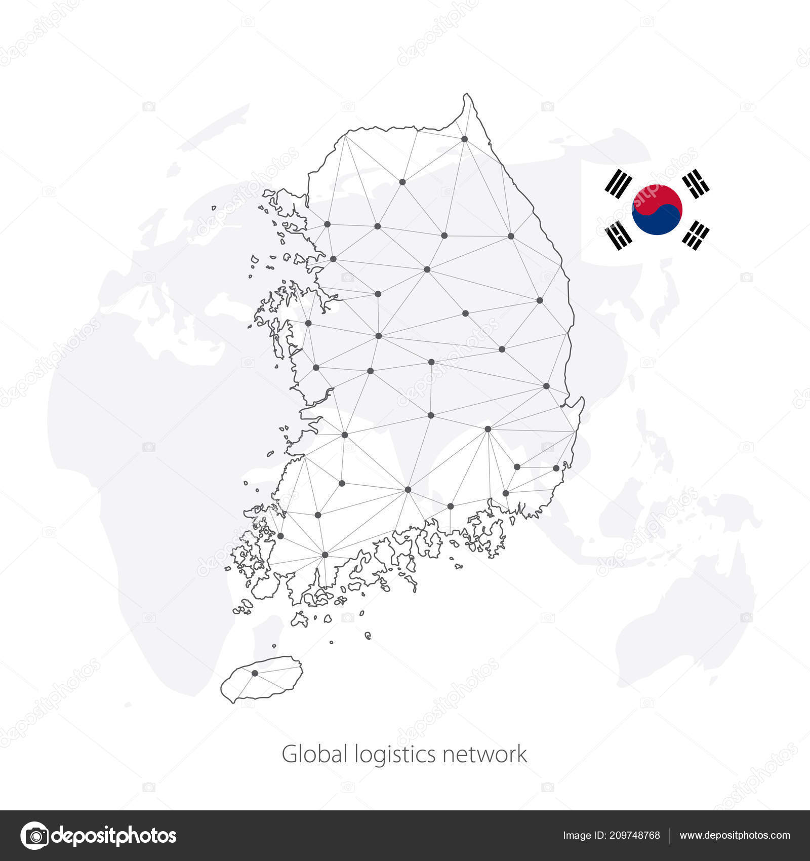 Global logistics network concept  Communications network map