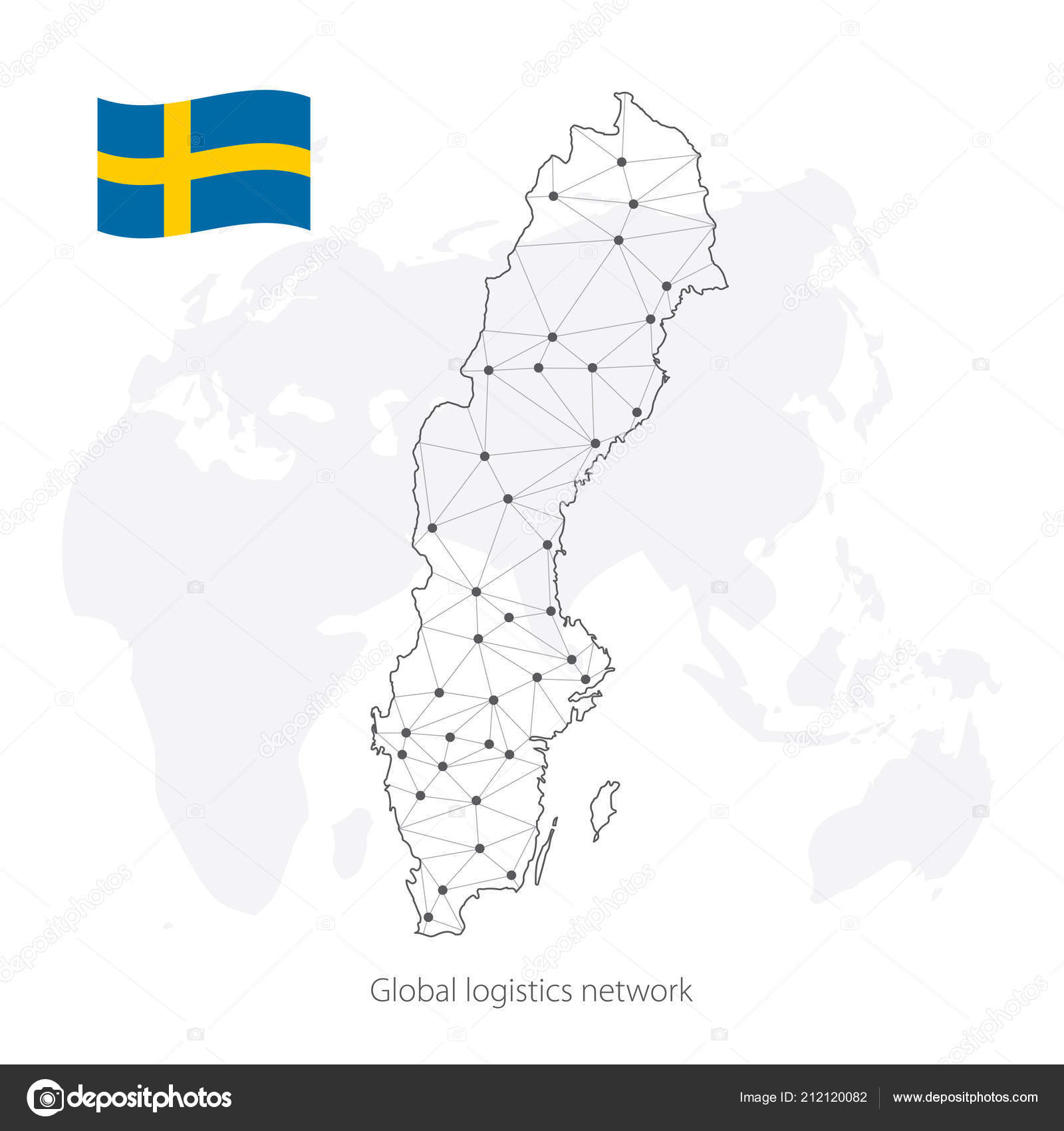 Global logistics network concept. Communications network map Sweden ...