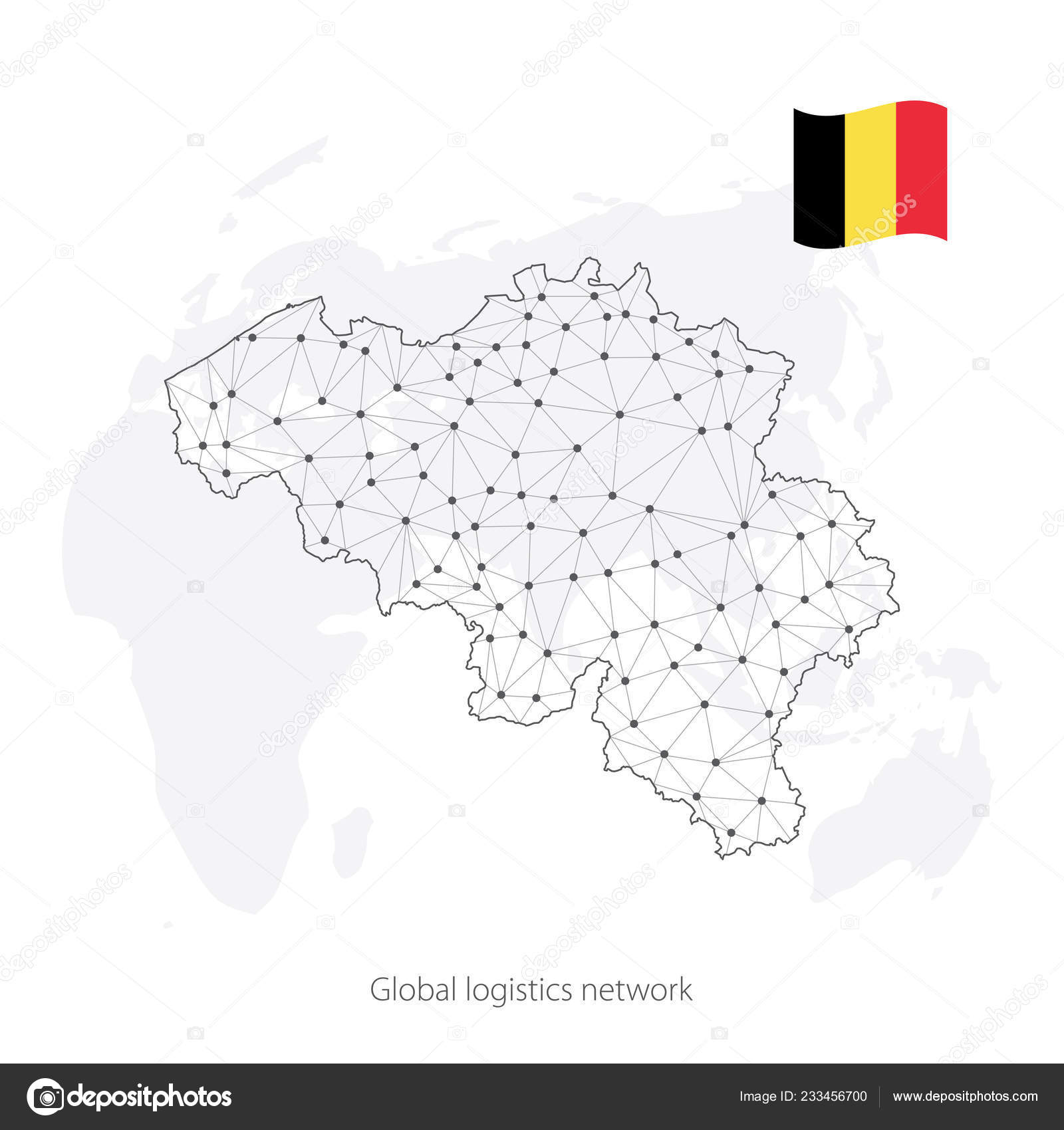 Global logistics network concept. Communications network map ...