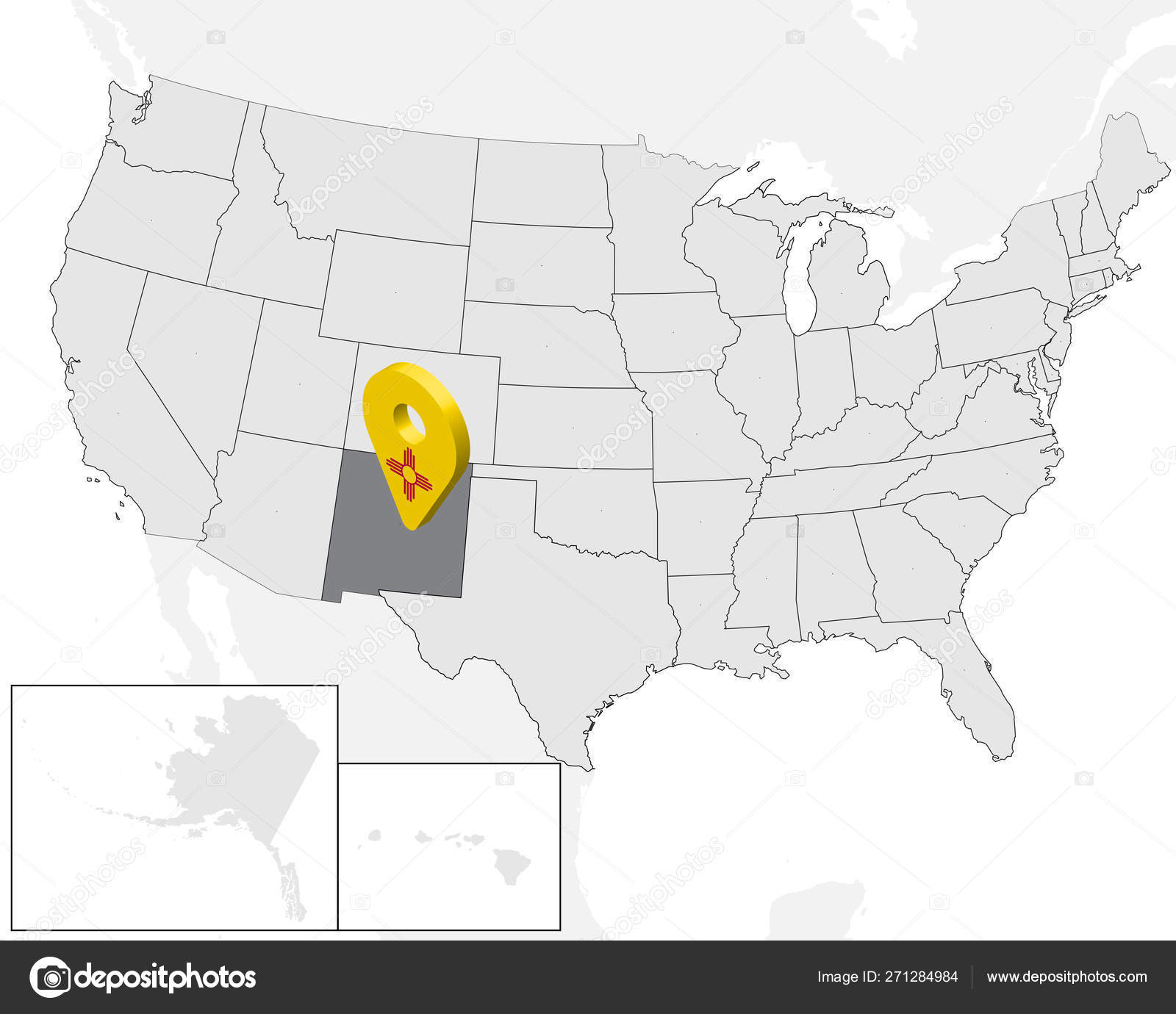 Location Map of State New Mexico on map USA. 3d State New ...