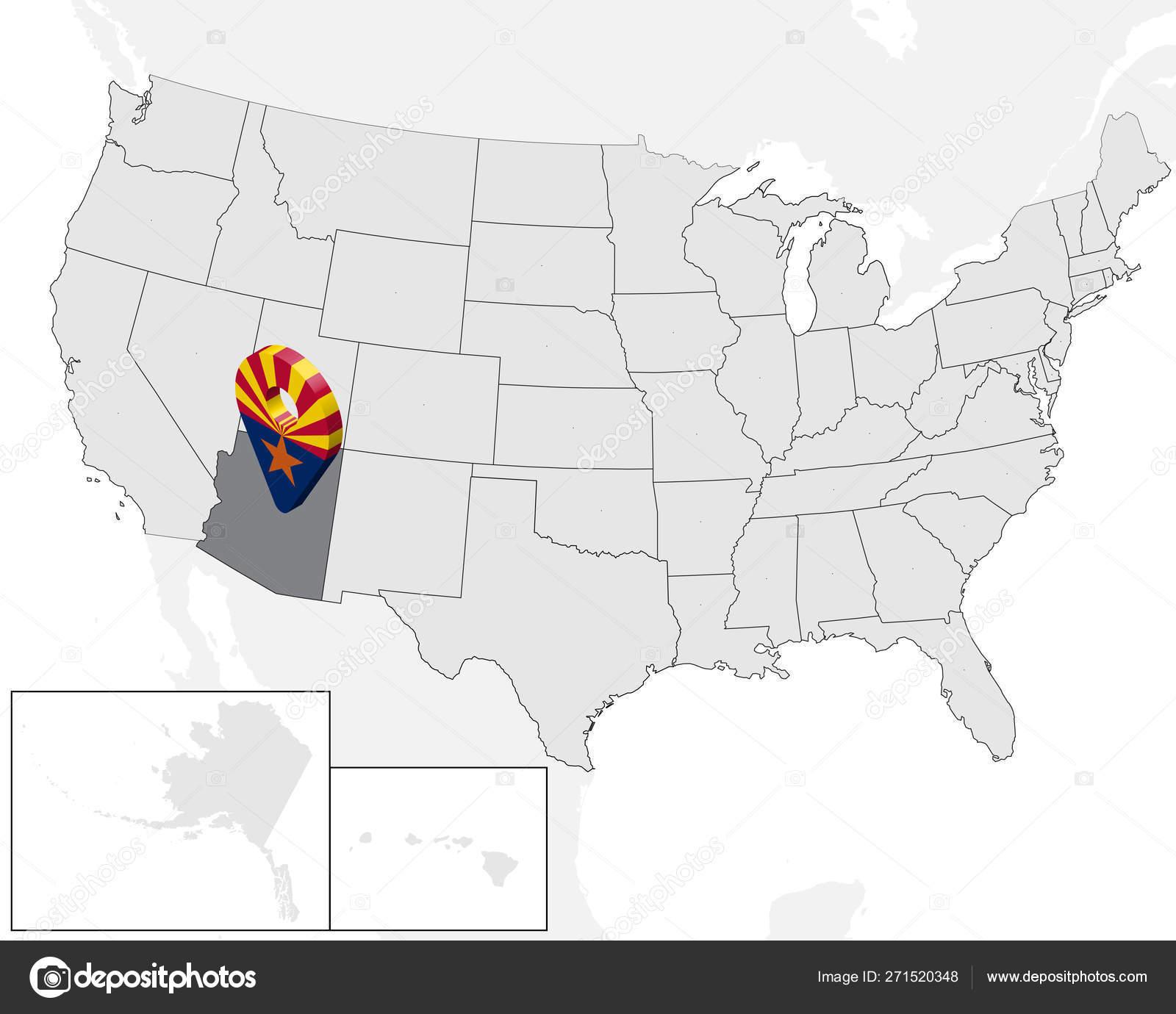3d Map Of Arizona.Location Map Of State Arizona On Map Usa 3d State Arizona Flag Map