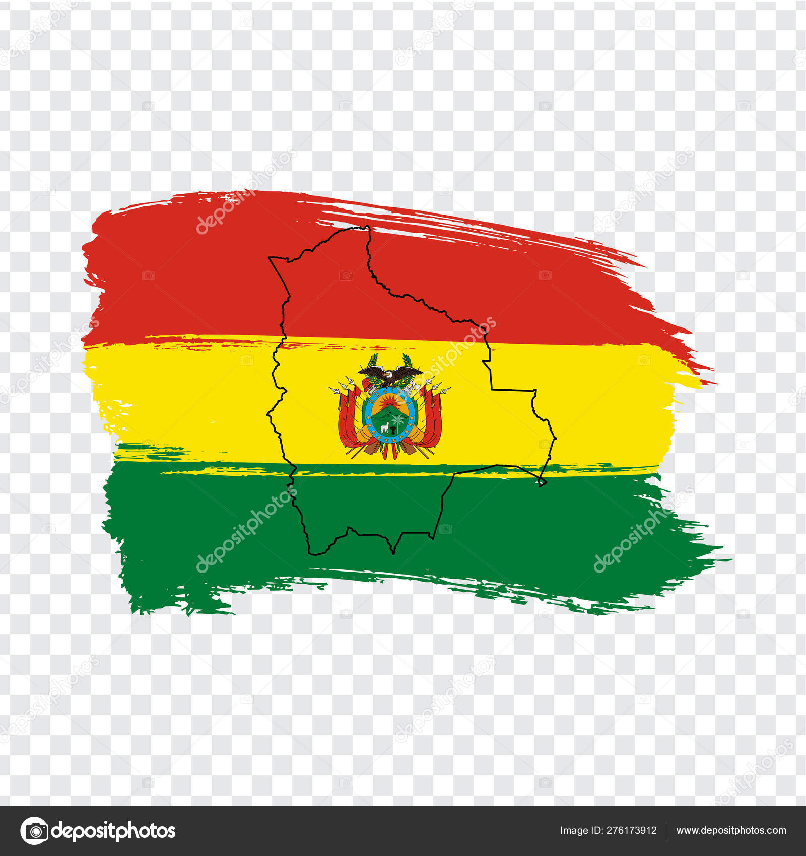 Flag Of Bolivia From Brush Strokes And Blank Map Bolivia High Quality Map Multinational State Of Bolivia And Flag On Transparent Background Stock Vector Vector Illustration Eps10 Stock Vector C Karinanh 276173912