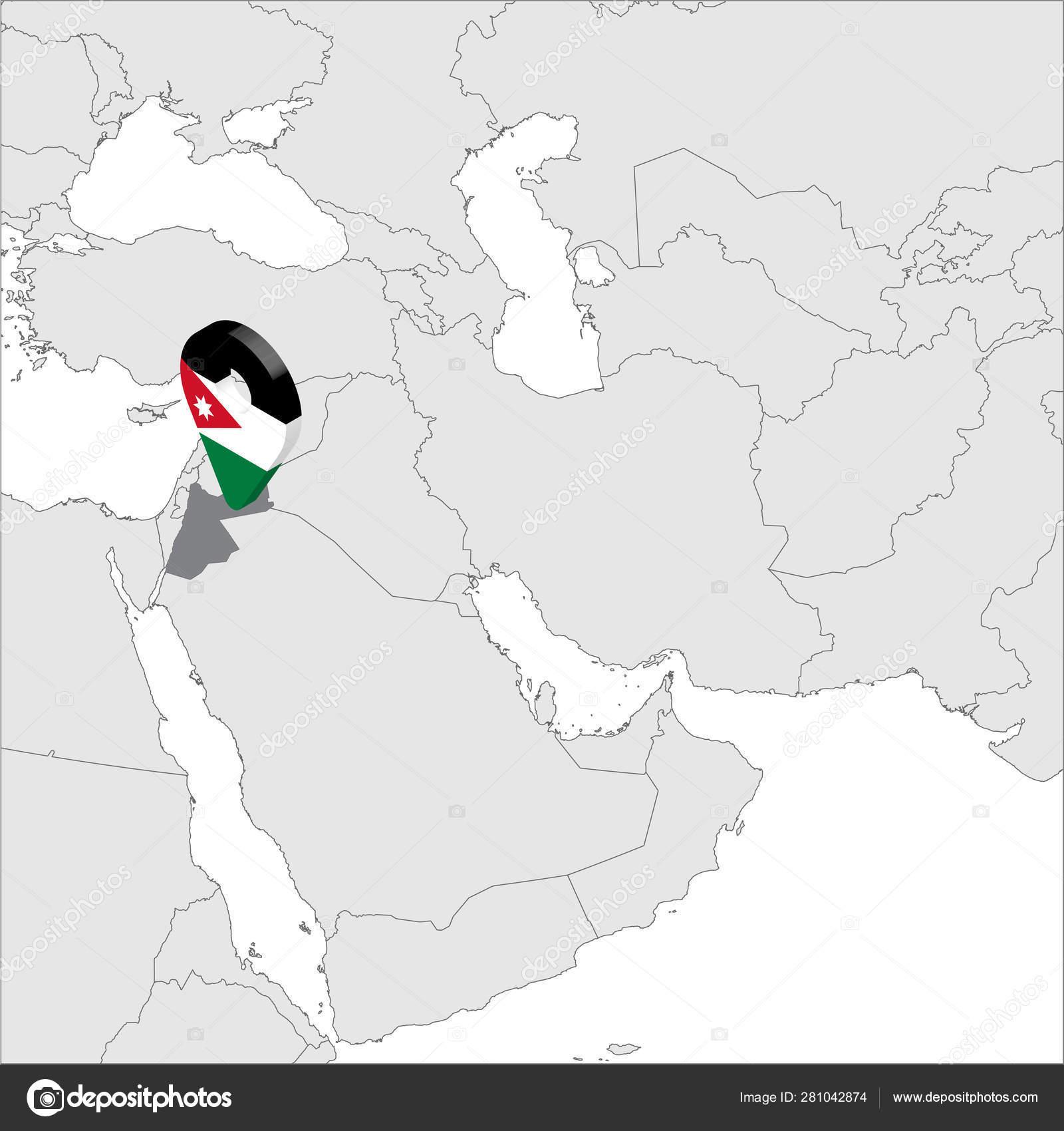 Map Of Asia Jordan.Jordan Location Map On Map Asia 3d Jordan Flag Map Marker Location