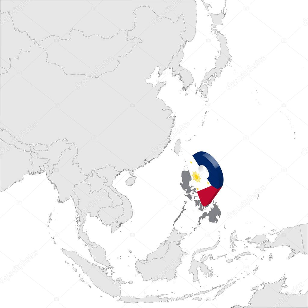 Philippines Location Map On Map Asia 3d Philippines Flag Map Marker Location Pin High Quality Map Of Republic Of The Philippines Southeast Asia Vector Illustration Eps10 Premium Vector In Adobe Illustrator