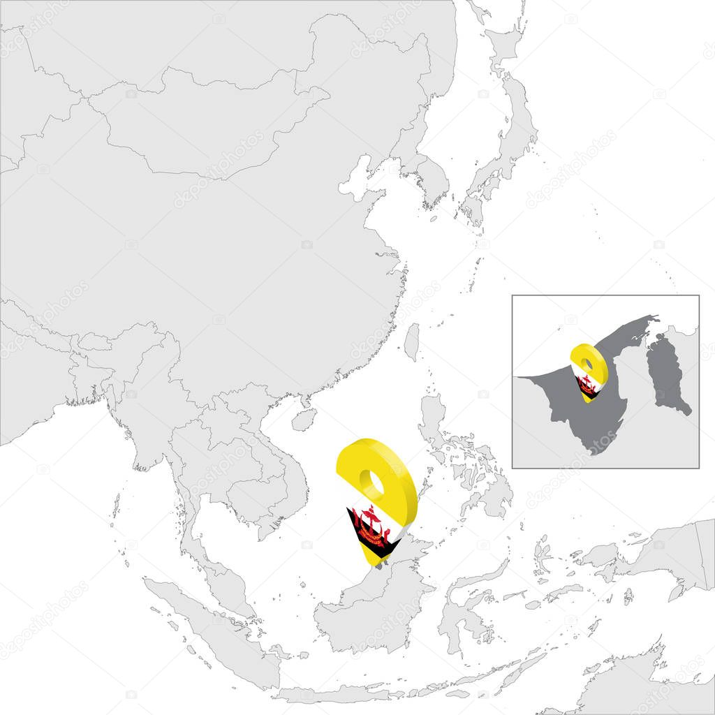 Image of: Brunei Darussalam State Location Map On Map Asia 3d Brunei Flag Map Marker Location Pin High Quality Map Of Brunei Southeast Asia Vector Illustration Eps10 Premium Vector In Adobe Illustrator Ai
