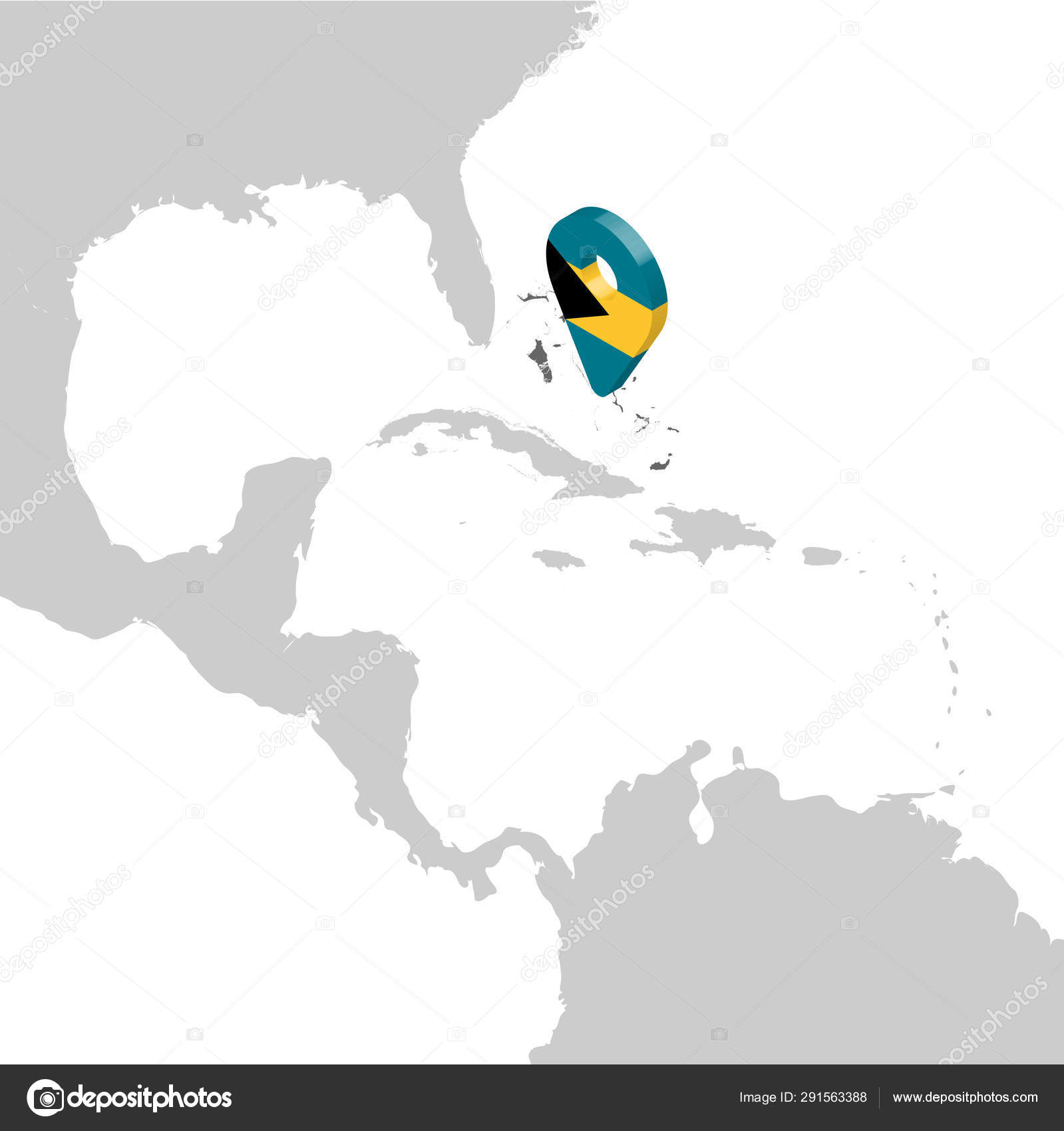 Picture of: Commonwealth Of The Bahamas Location Map On Map Central America 3d Bahamas Flag Map Marker Location Pin High Quality Map Of Bahamas Vector Illustration Eps10 Stock Vector C Karinanh 291563388