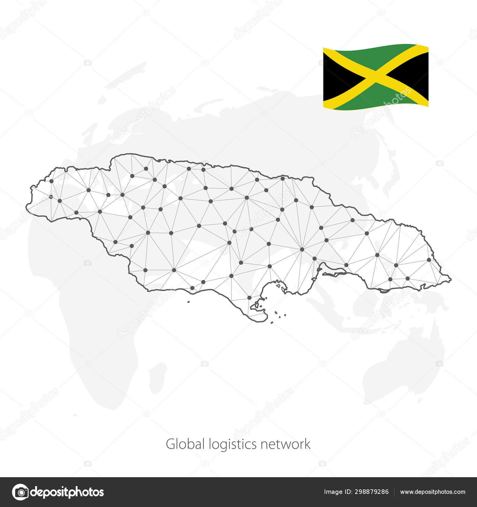 Global logistics network concept. Communications network map ...