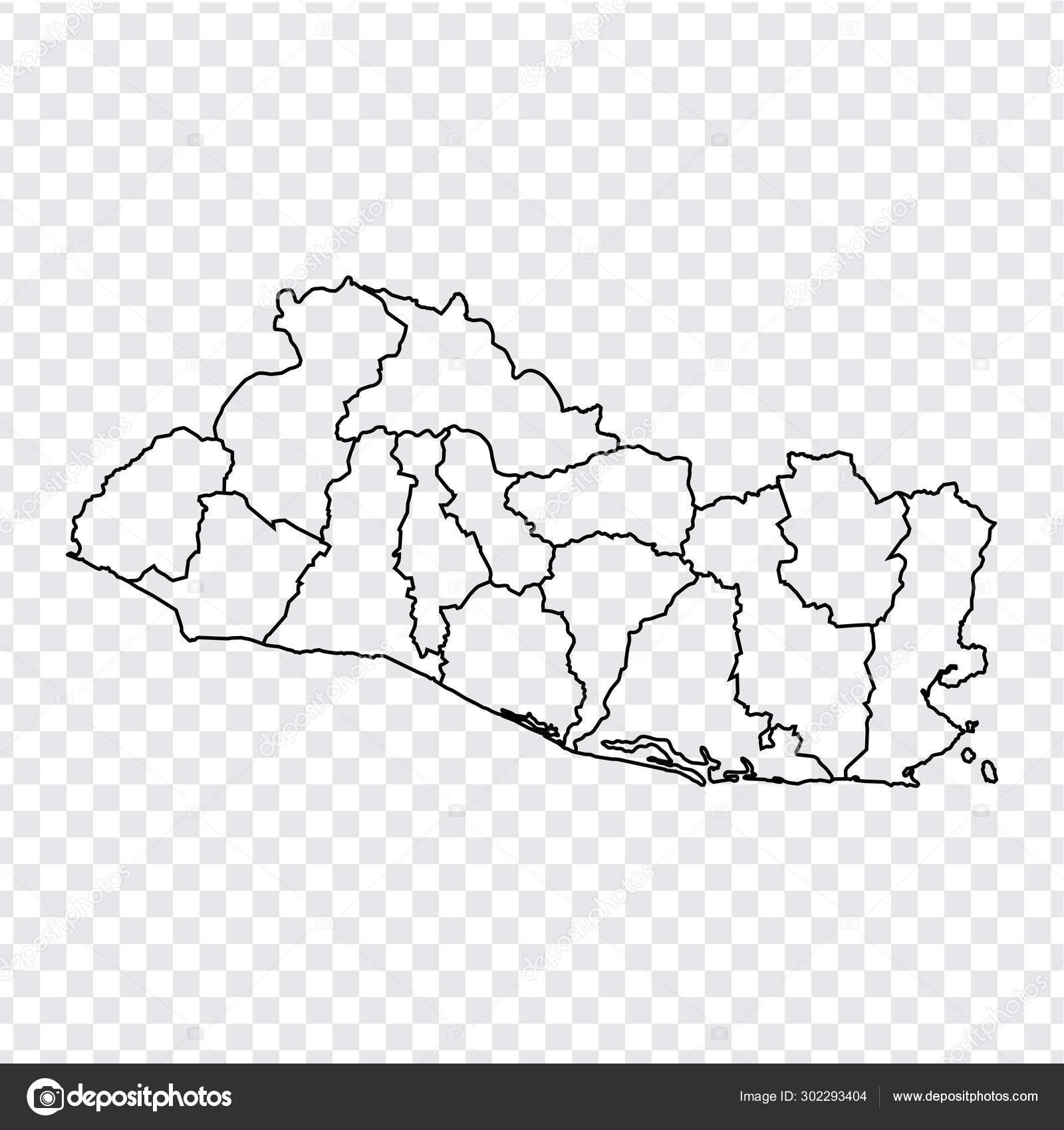 Blank map Salvador. High quality map Republic of El Salvador ...