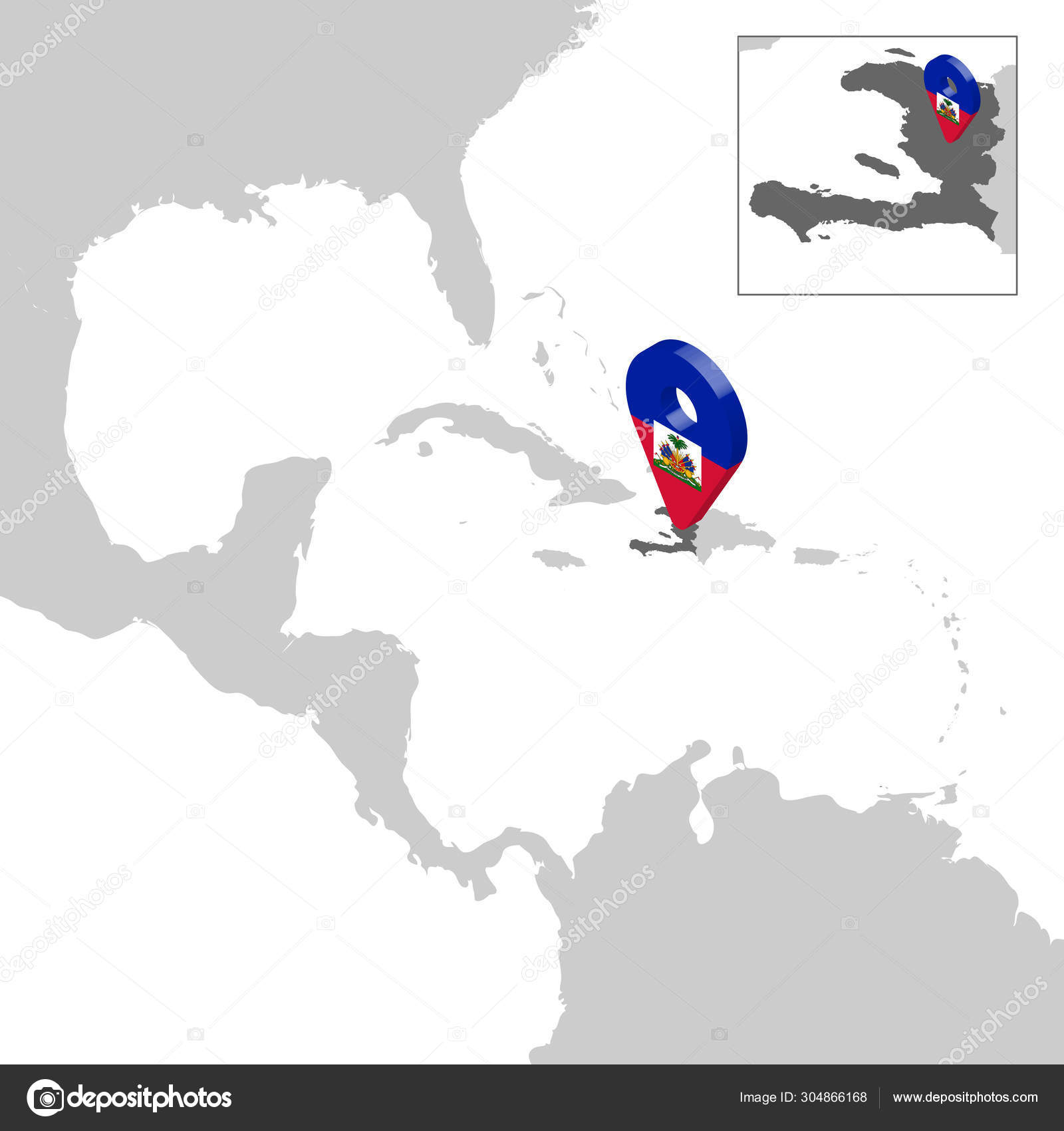 Location Map Haiti On Map Central America 3d Haiti Flag Map Marker Location Pin High Quality Map Republic Of Haiti Vector Illustration Eps10 Stock Vector C Karinanh 304866168