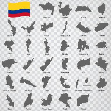 Thirty three Maps of departments Colombia - alphabetical order with name. Every single map of state are listed and isolated with wordings and titles. Republic of Colombia. EPS10.