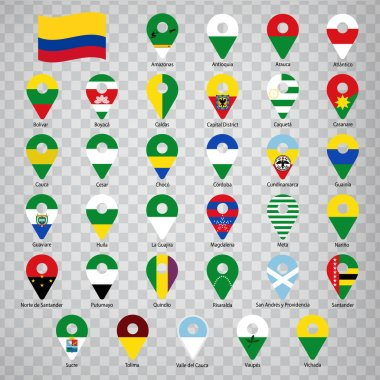 Thirty three flags states of Colombia - alphabetical order with name.  Set of 2d geolocation signs like flags states of Colombia.  Thirty three geolocation signs for your design, logo. EPS10.