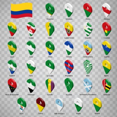 Thirty three flags states of Colombia - alphabetical order with name.  Set of 3d geolocation signs like flags states of Colombia.  Thirty three geolocation signs for your design, logo. EPS10.