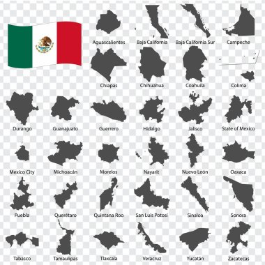 Tthirty two Maps United Mexican States - alphabetical order with name. Every single map of state are listed and isolated with wordings and titles. United Mexican States. EPS10.