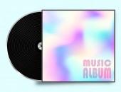 Vinyl záznam deska s pestrobarevný obal. Vektorové ilustrace.