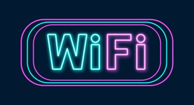 Wi-Fi neon sign. Wifi icon with lighting effect