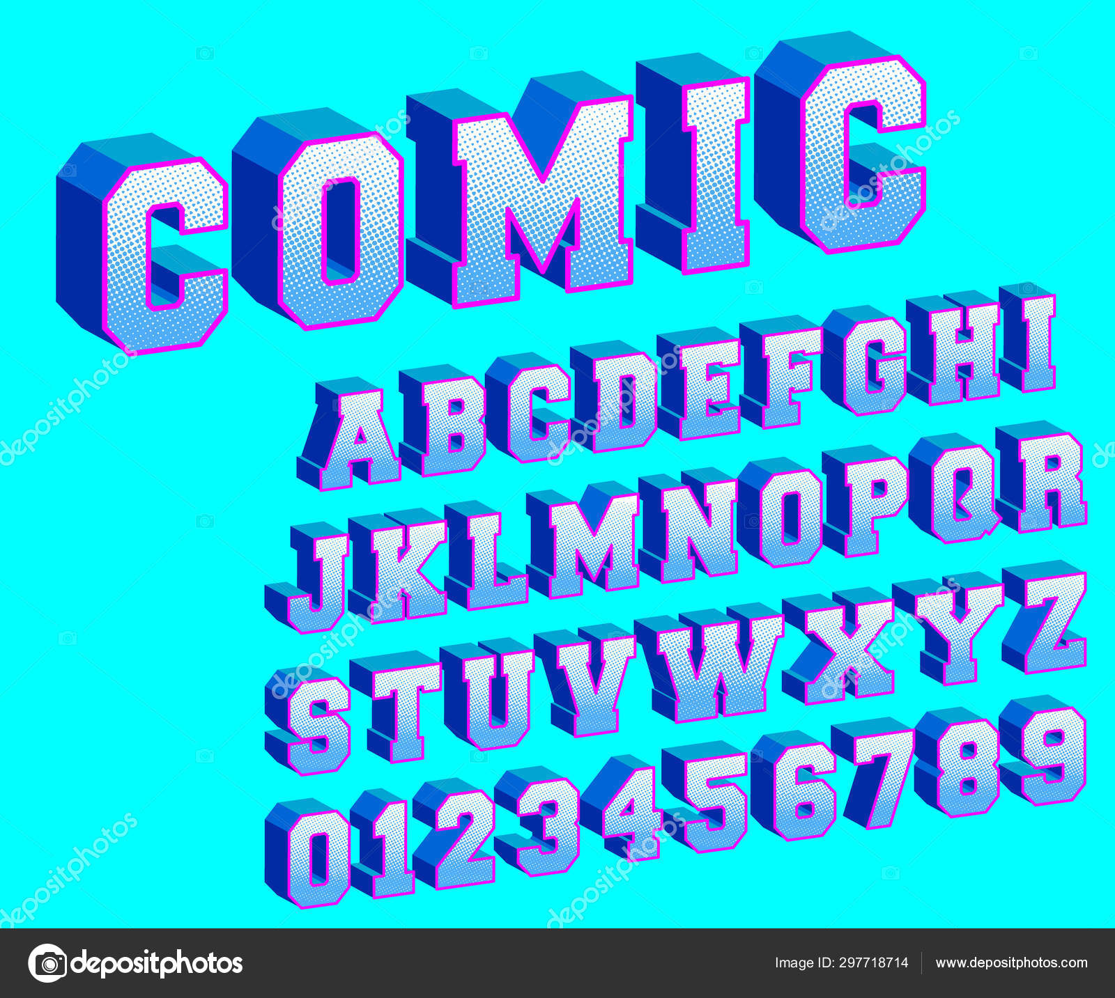Comic Alphabet Template Letters And Numbers Halftone Design