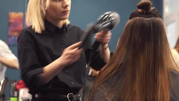Portrét šťastné ženy u kadeřnictví. Profesionální koncepce stylování vlasů. Kadeřník sušení dívky dlouhé vlasy pomocí vysoušeče vlasů a kartáčku. Sušení s vyfouknout sušičkou