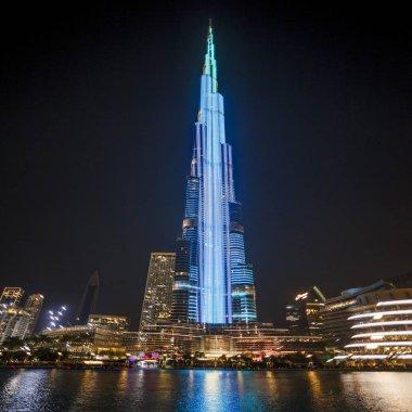 DUBAI, UAE - December 12, 2018: Light show in Burj Khalifa at 828 metres is a tallest building in the world. In Downtown Dubai.