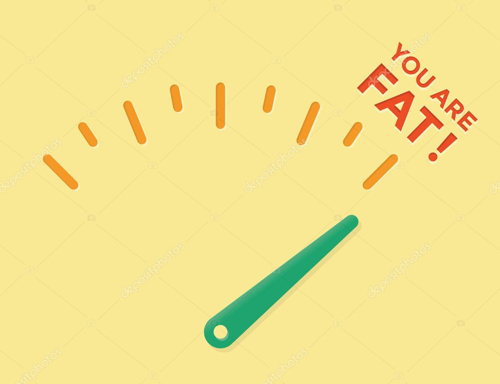 Abstract Weight Loss Meter With Arrow On You Are Fat Concepts Healhy Eating Lifestyle Motivation Unhealthy Fastfood Problems Overweight Reduction Body Mass Diets And Fitness Cholesterol Tests Premium Vector In Adobe