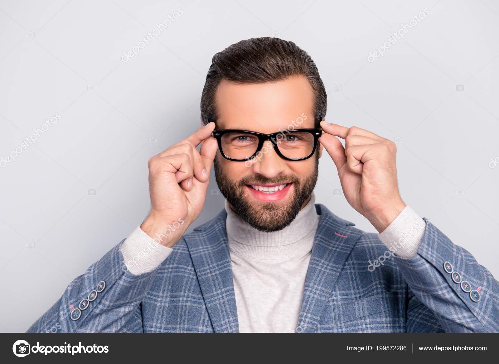 Porträt Des Herren Männlich Atemberaubend Modernen Mann Mit Frisur