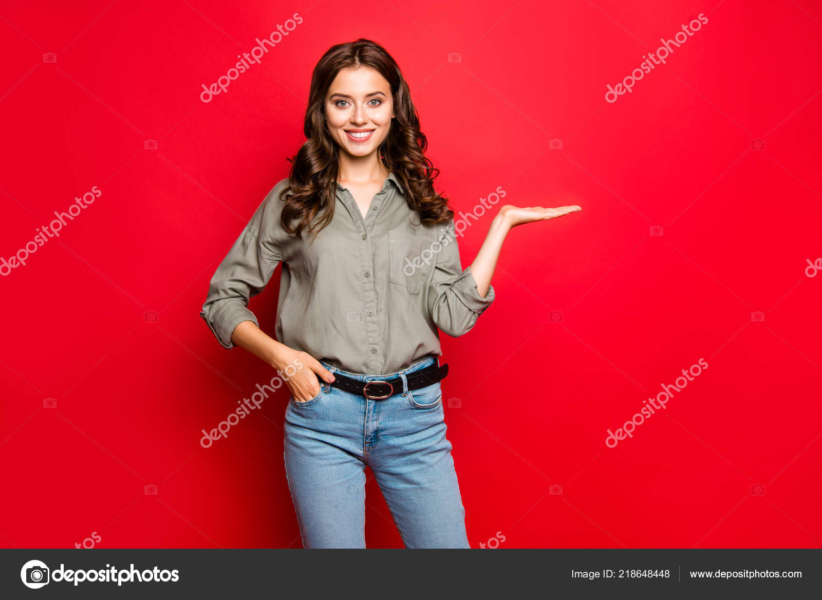 Advertising Concept Portrait Young Woman Blue Jeans Shirt Hold