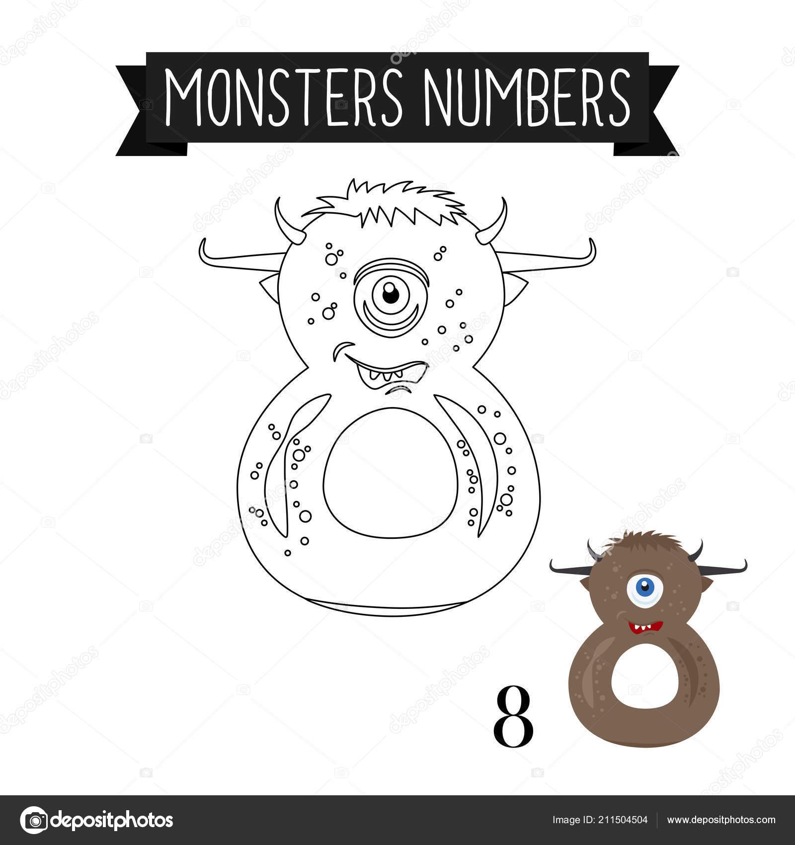 Número De Monstruos De Colorear Página 8 Vector De Stock