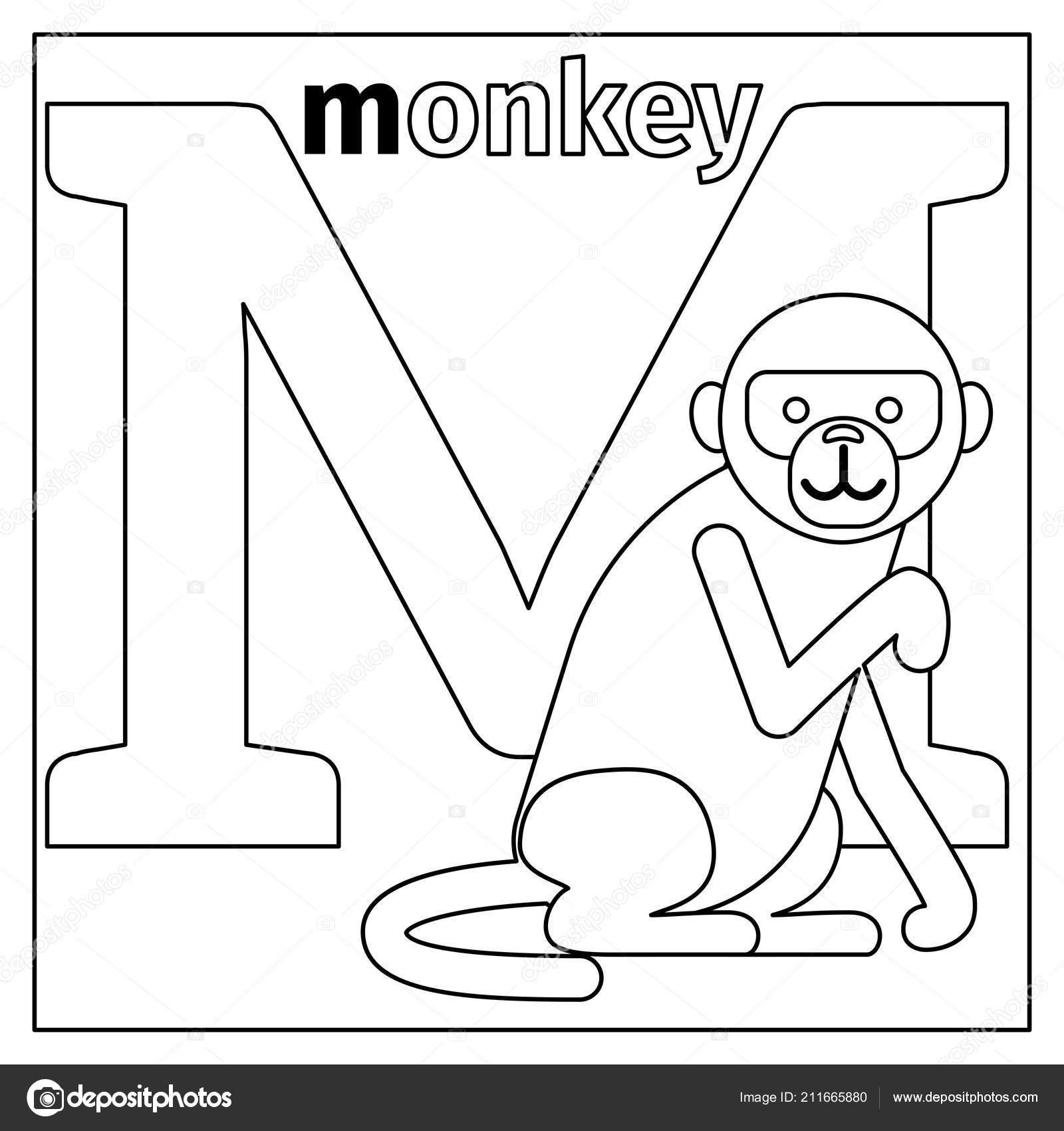 Mono Página Para Colorear De Letra M Vector De Stock