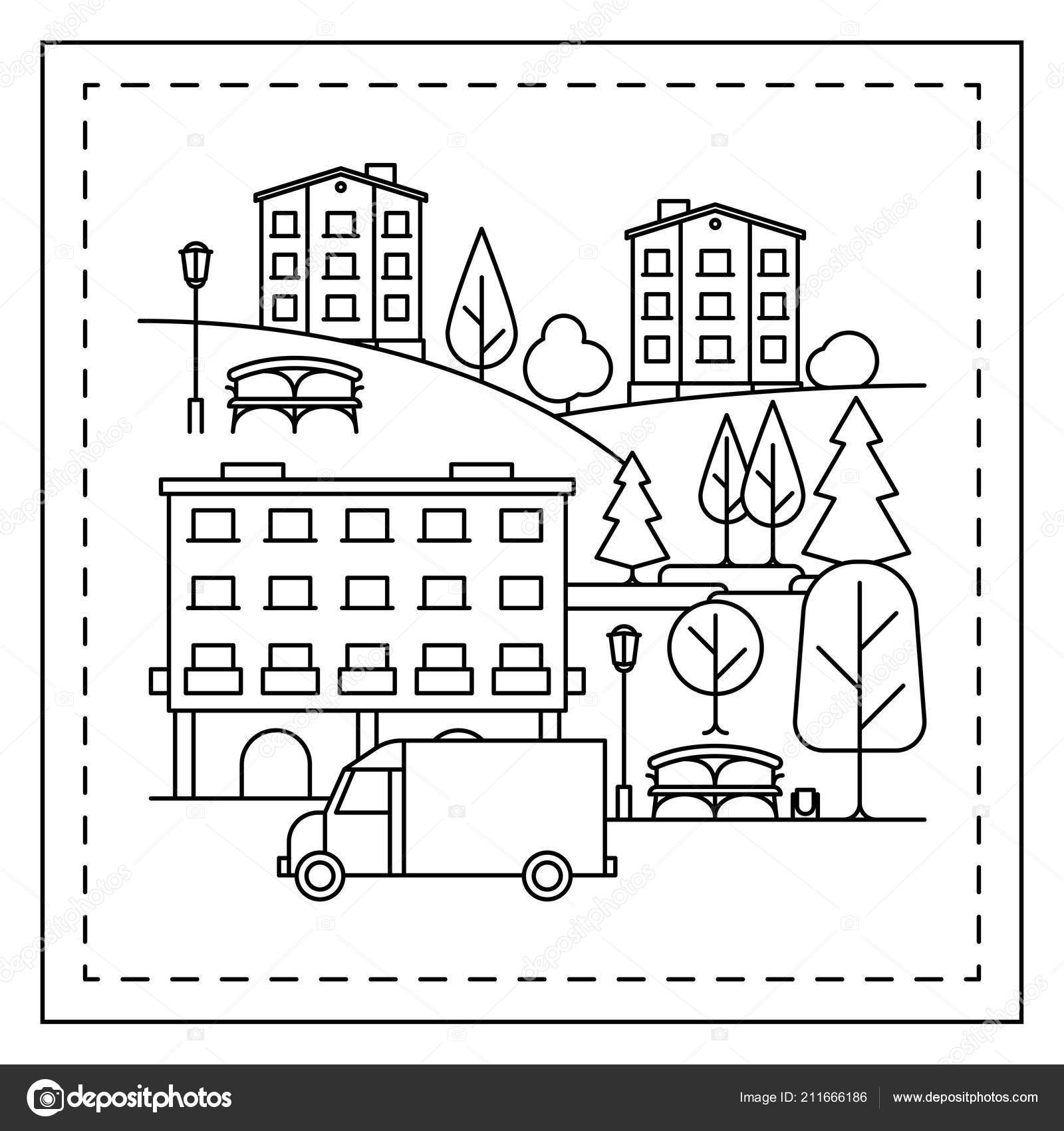 Coloring Page With City Landscape Vector Image By C Ssstocker Vector Stock 211666186