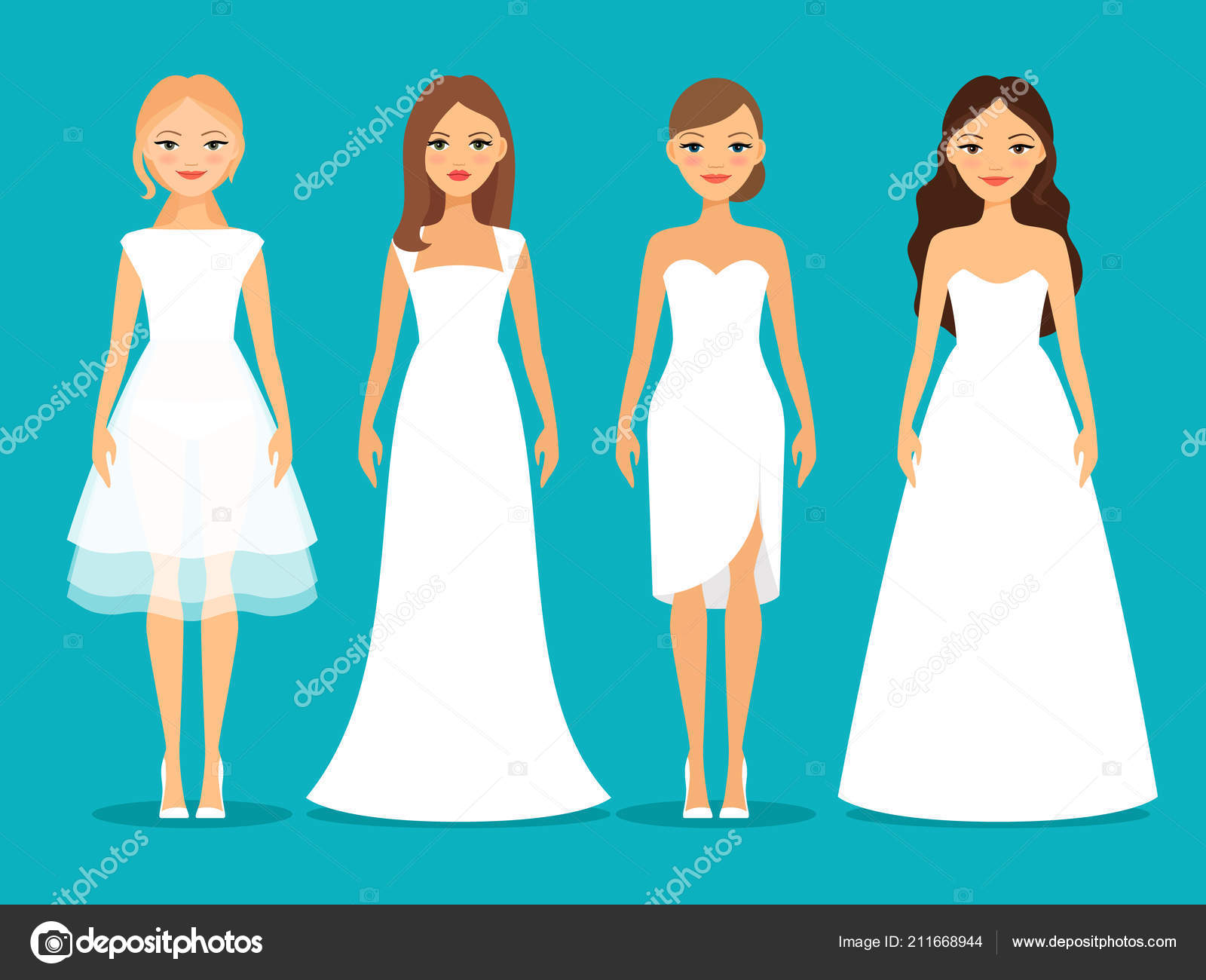 3c5ca5d23 Mujeres en vestidos de novia — Archivo Imágenes Vectoriales ...