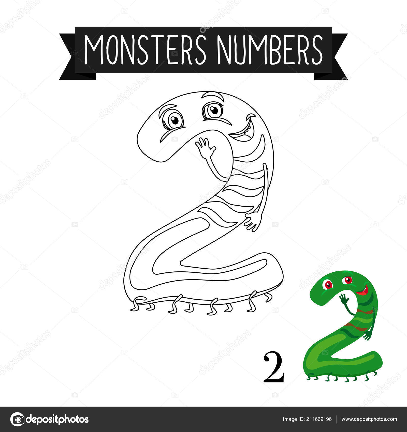 Kolorowanki Strona Potwory Numer 2 Grafika Wektorowa Ssstocker