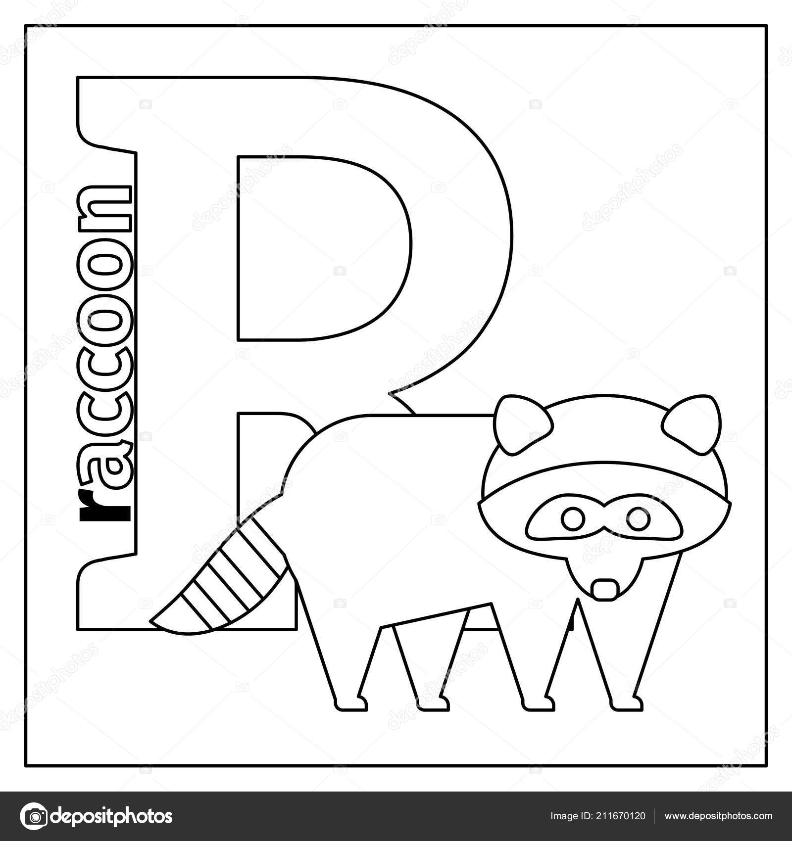 Letter R Coloring Page Raccoon Letter R Coloring Page