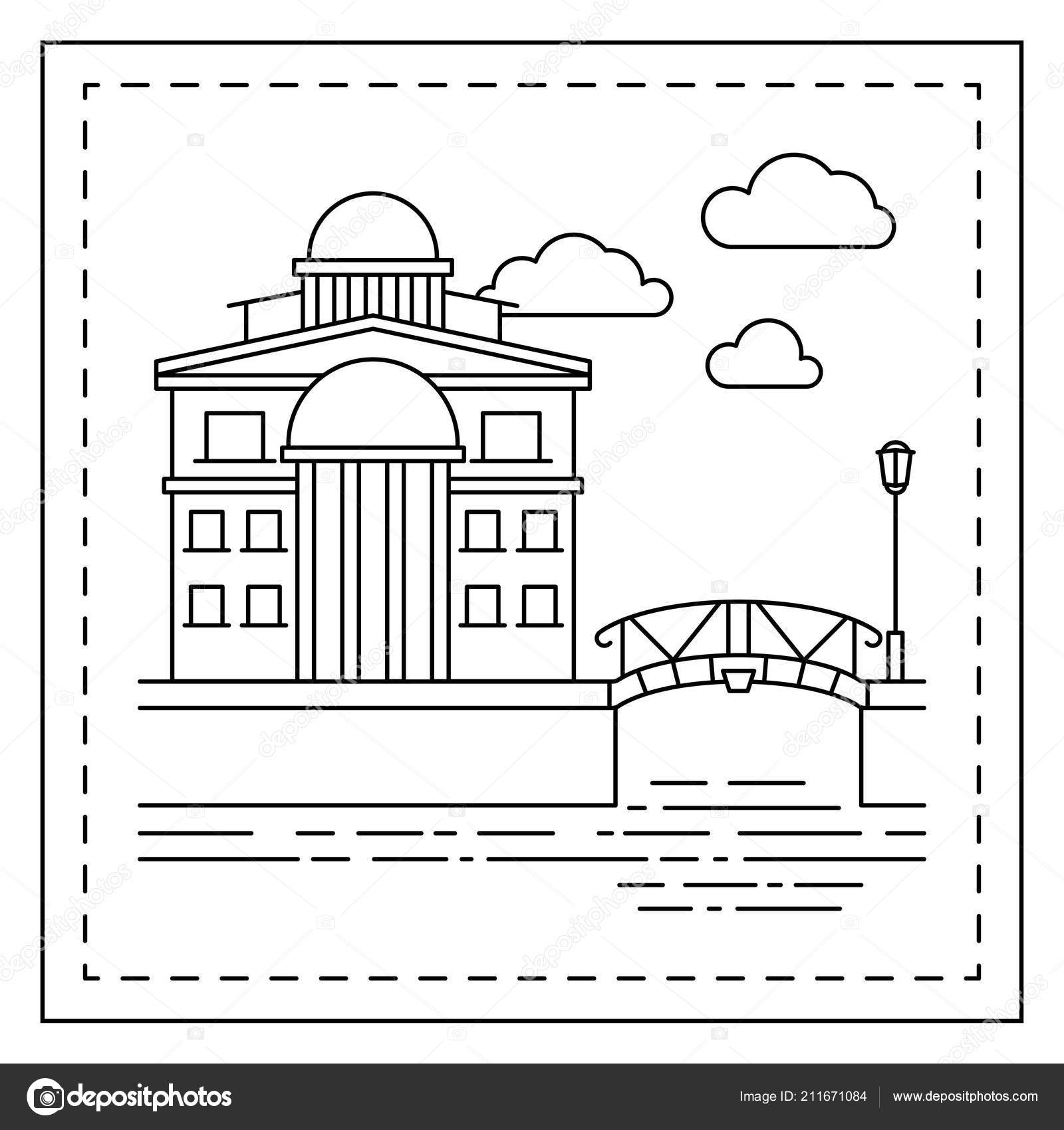 Coloring page with house and bridge — Stock Vector © ssstocker ...