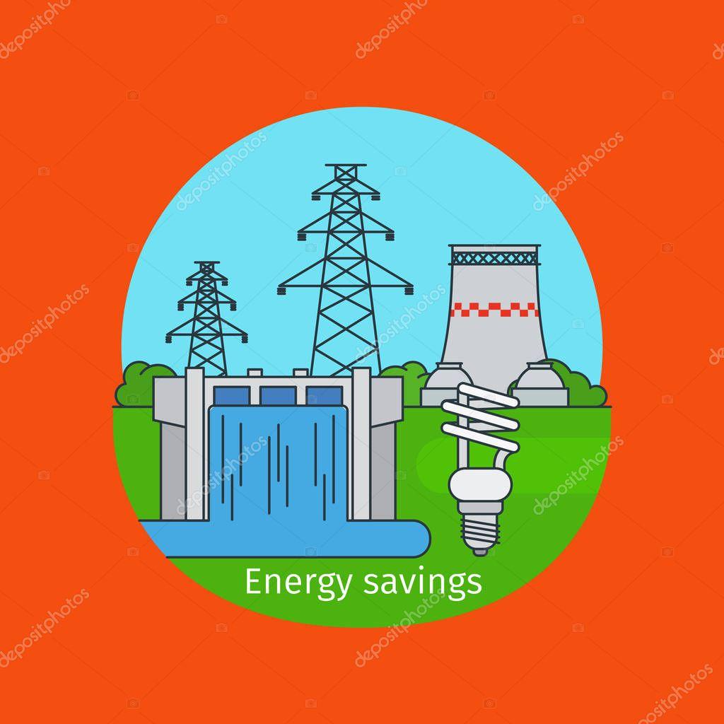 Energy savings concept with bulb